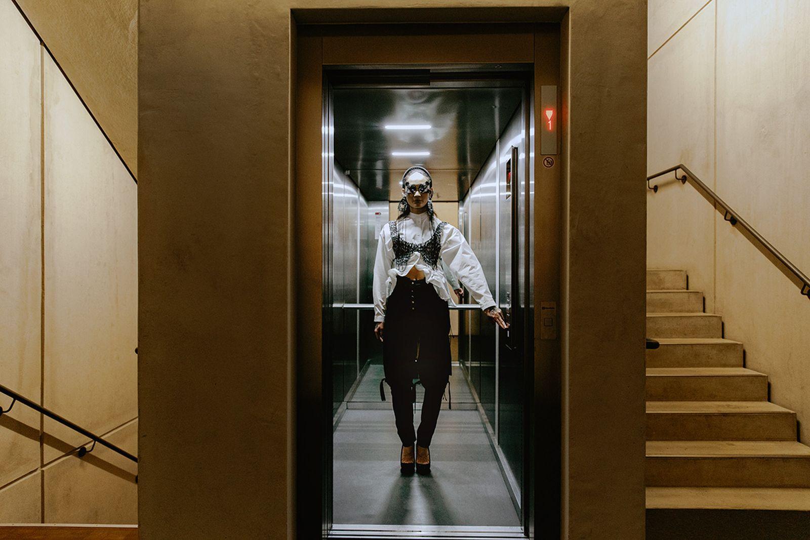 Cap: Hungry, Shirt: Catalogue Of Disguise, Skirt & Heels: Alexandru Plesco