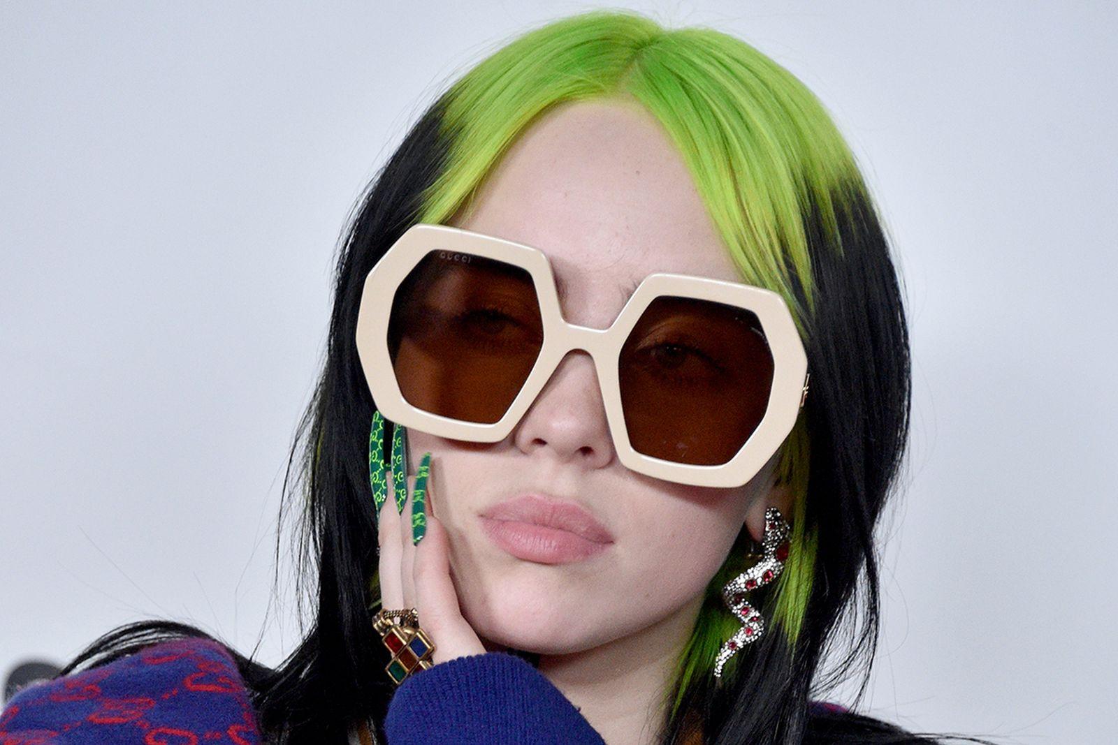 Billie Eilish green hair sunglasses