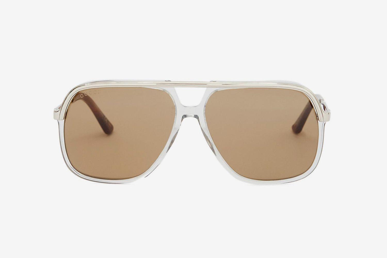 Web-Stripe Aviator Sunglasses