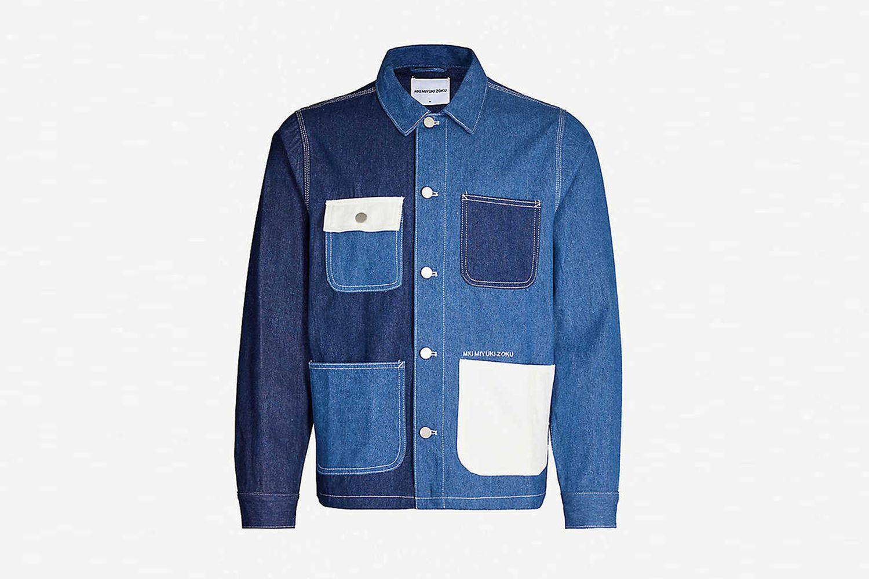 Patch-pocket denim chore jacket