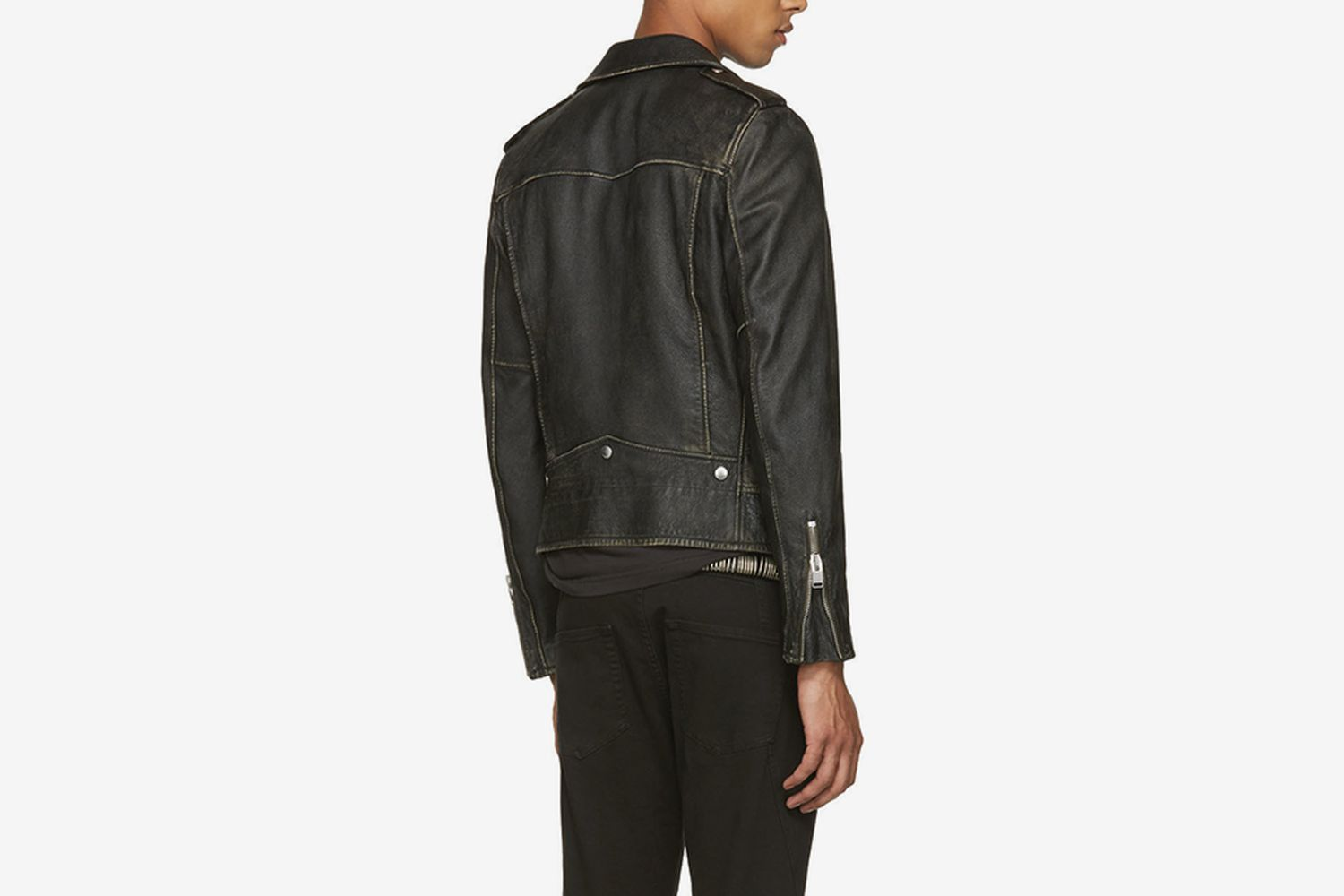 Leather Worn Classic Moto Jacket