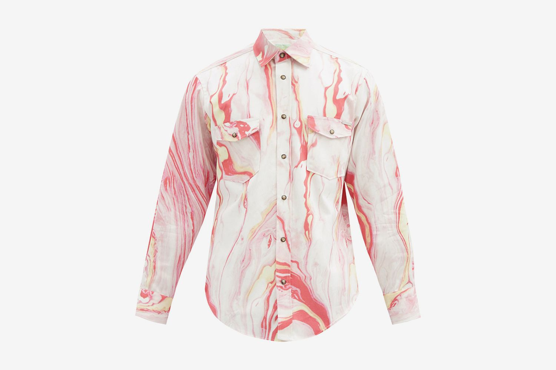 Marble-Print Western Shirt