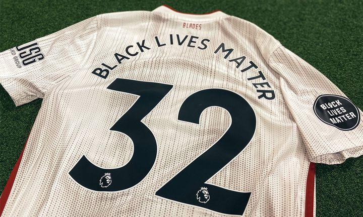 sheffield united jersey with black lives matter printed on the back