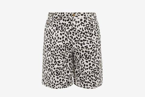 Leopard-Print Denim Shorts