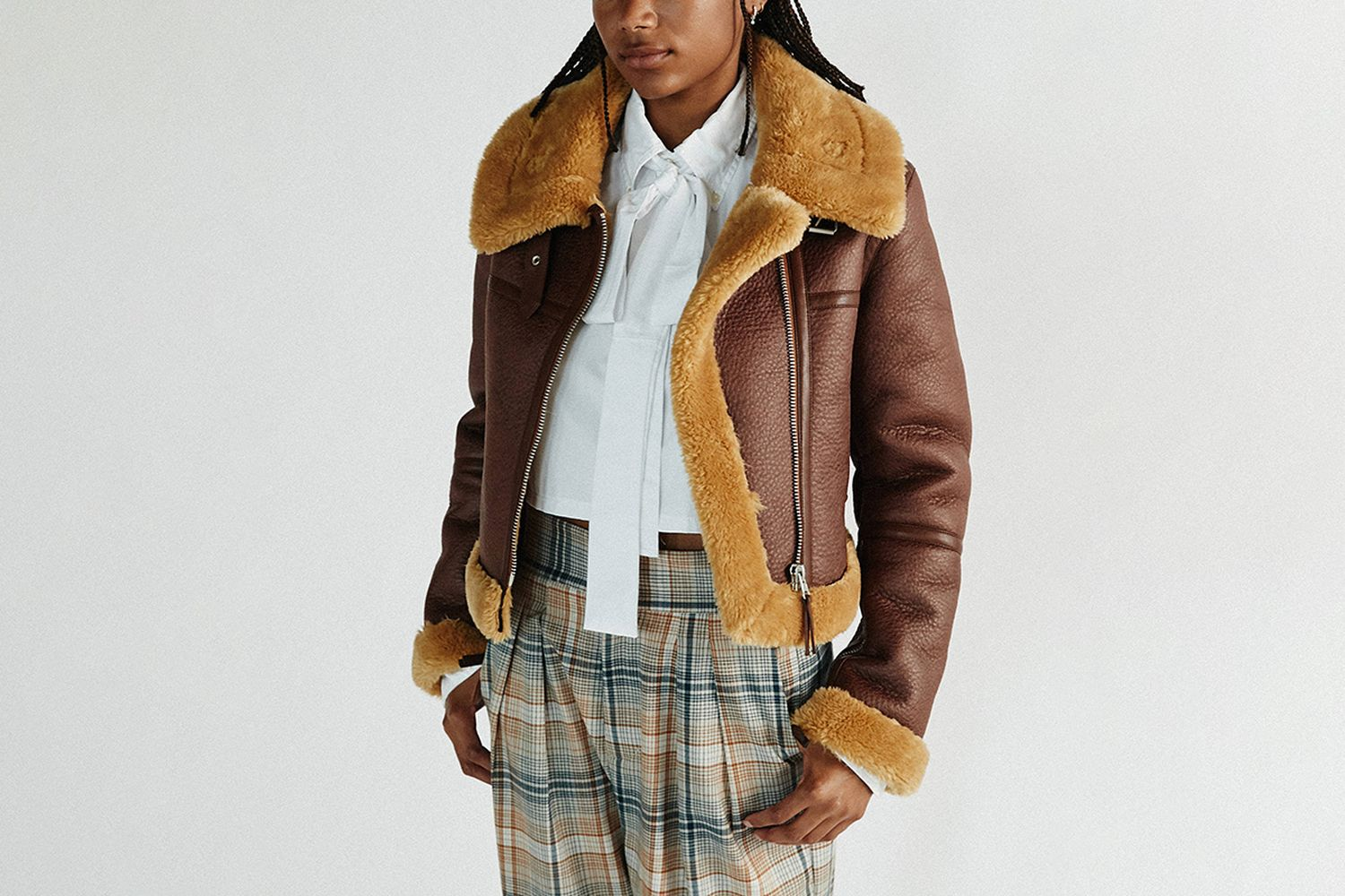 Faux Leather Cropped Aviator Jacket