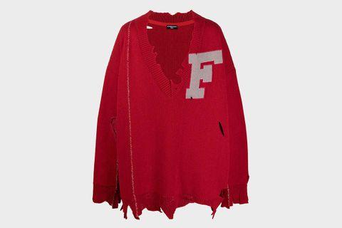 F Appliqué Distressed Sweater