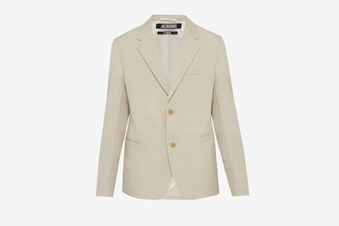 Single-Breasted Linen-Blend Blazer