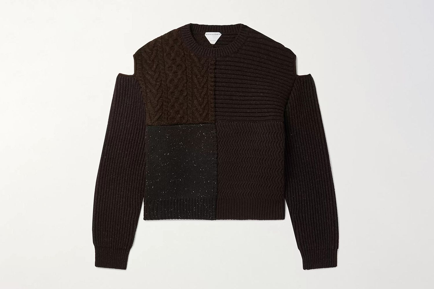 Cutout Patchwork Wool Sweater