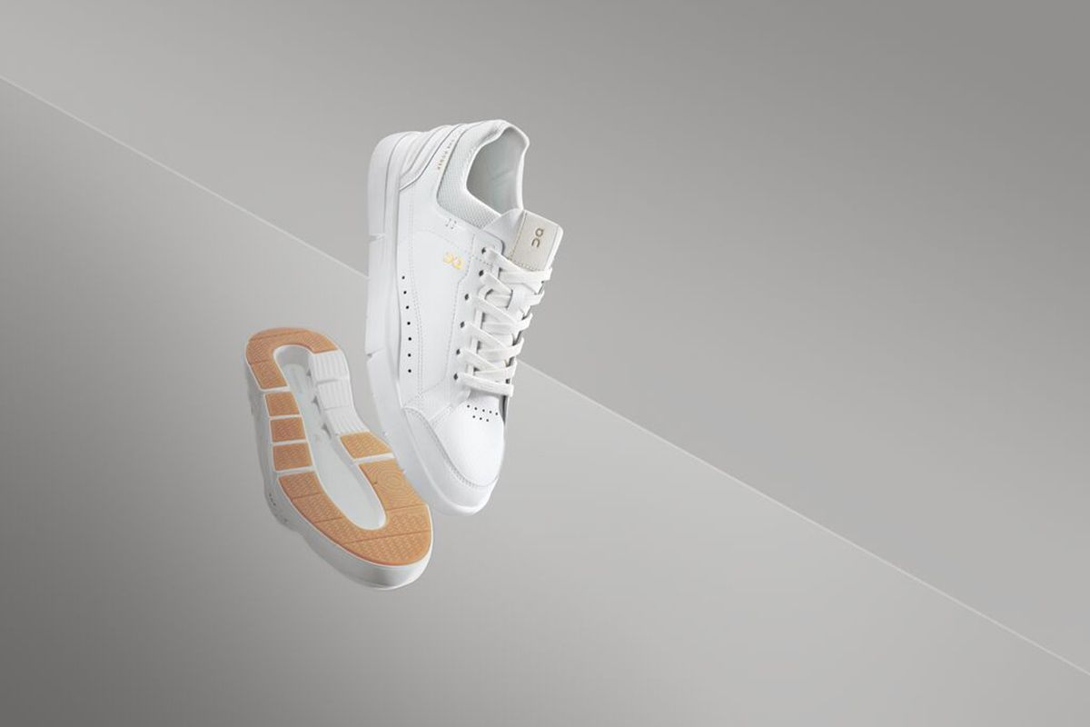 On The Roger all-white tennis shoe product shot