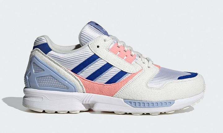 blue white and pink adidas ZX 8000 sneaker product shot