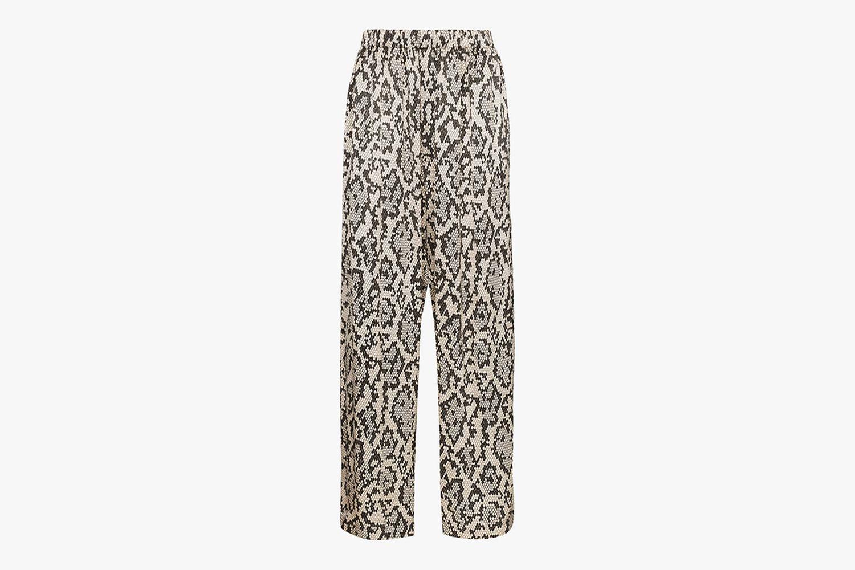 Loose Snake Print Silk Trousers