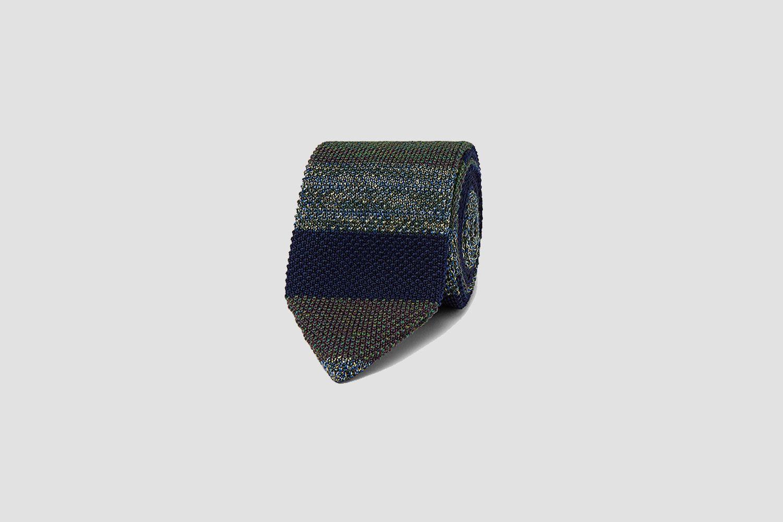 Striped Crochet-Knit Wool and Silk-Blend Tie