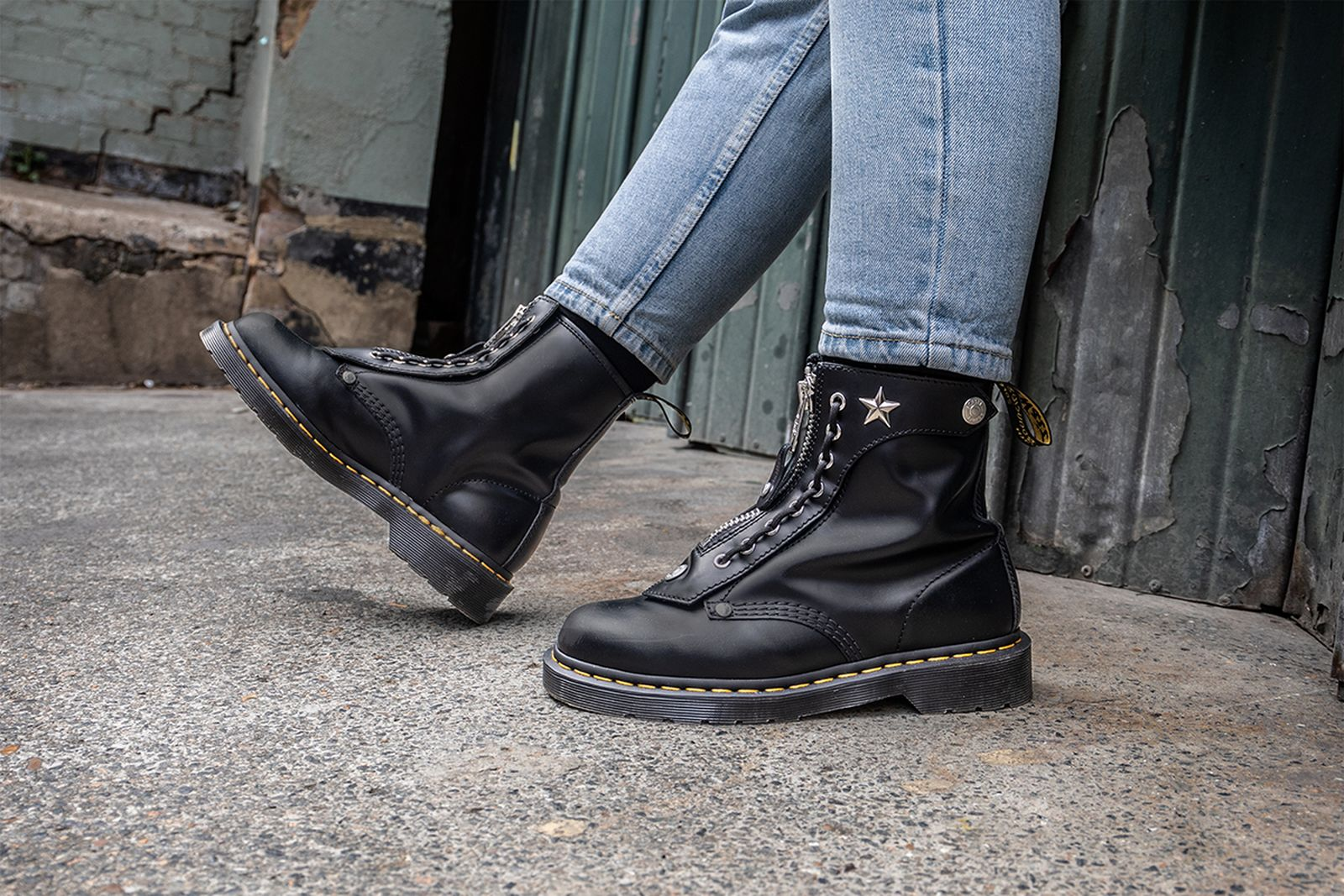 Schott NYC Dr. Martens black leather boots
