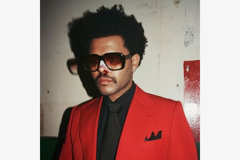 The Weeknd glasses bloody nose red jacket