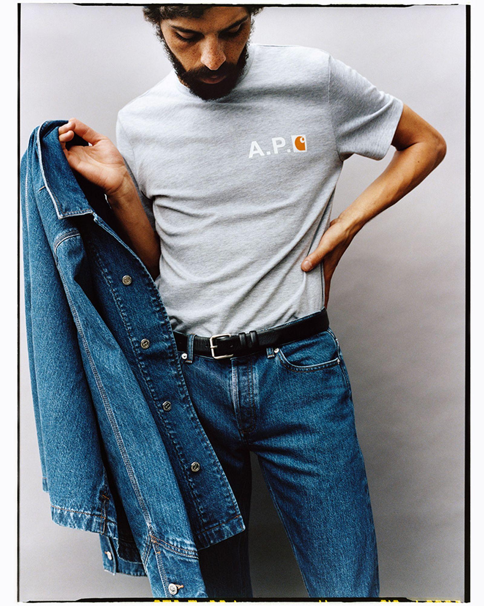 A.P.C. x Carhartt WIP Grey T-Shirt and Blue Denim Jacket