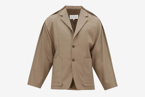 Exposed-Seam Wool-Blend Crepe Jacket