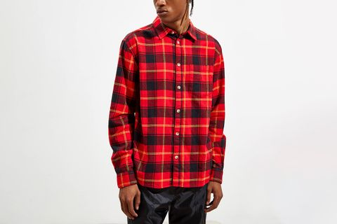 Plaid Flannel Button-Down Shirt