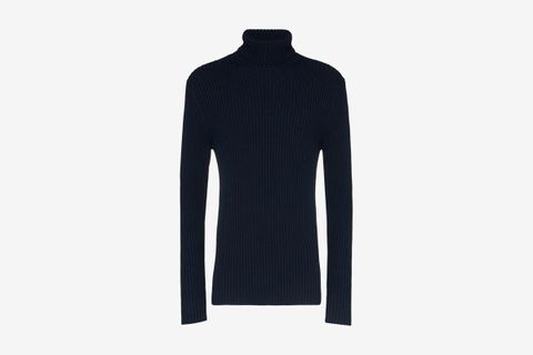 Roll Neck Ribbed Cotton Sweater