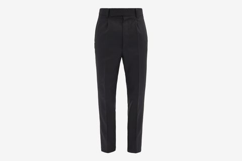 Tapered-Leg Pleated Wool-Twill Trousers