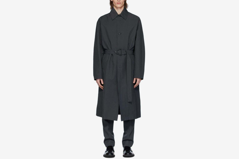 Grey Nylon Trench Coat