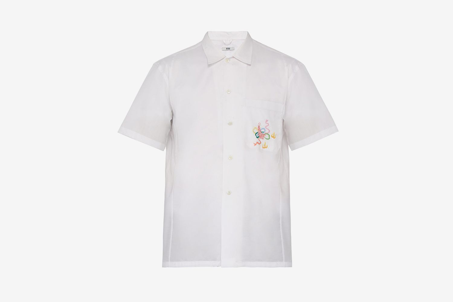 Embroidered Short-sleeved Cotton Shirt