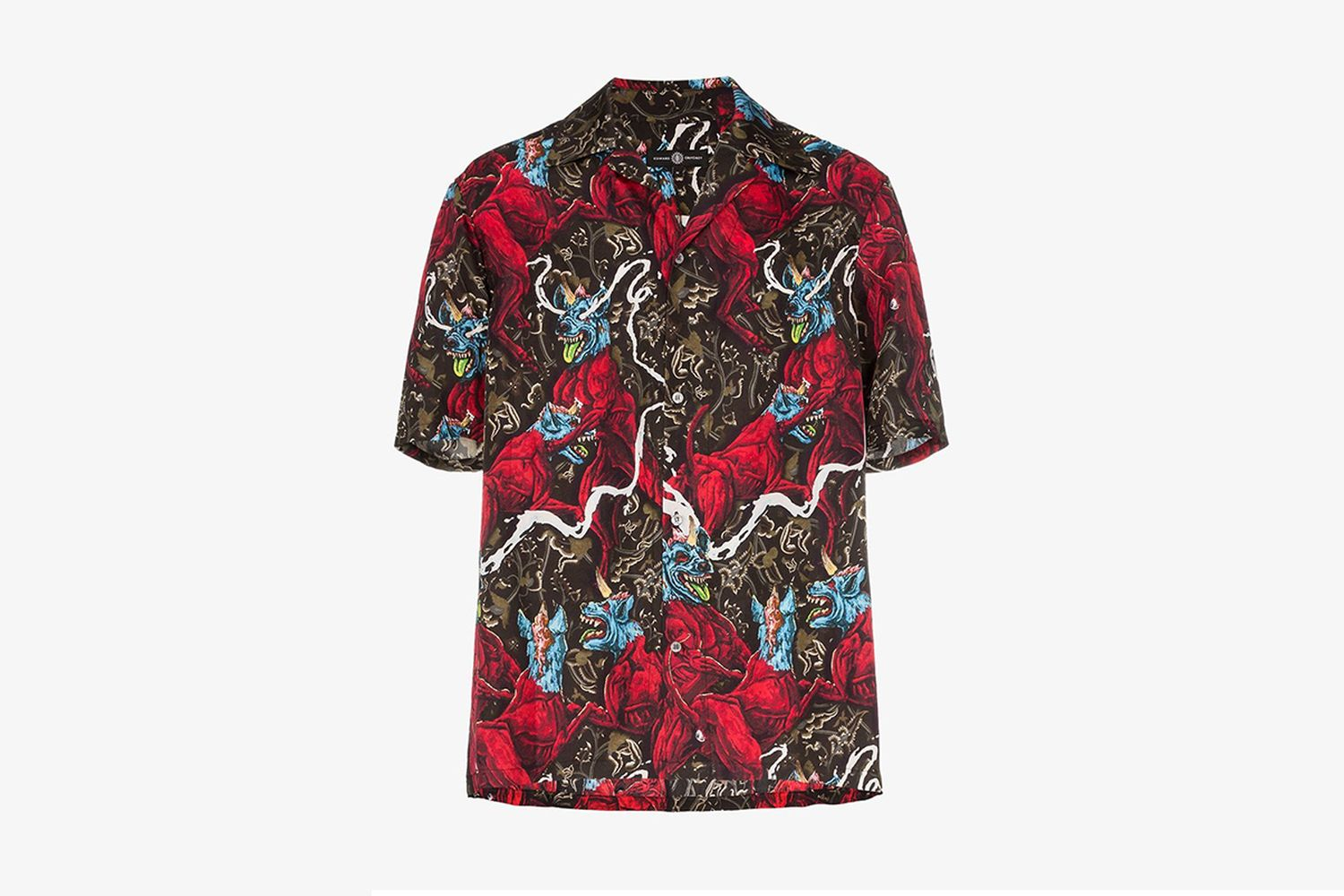 Edward Crutchley dog print short sleeved silk shirt