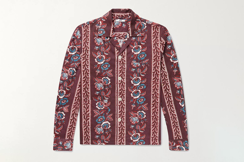 Louie Camp-Collar Floral-Print Cotton Shirt