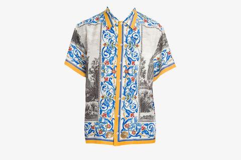 Temple Print Short-Sleeve Button-Down Shirt