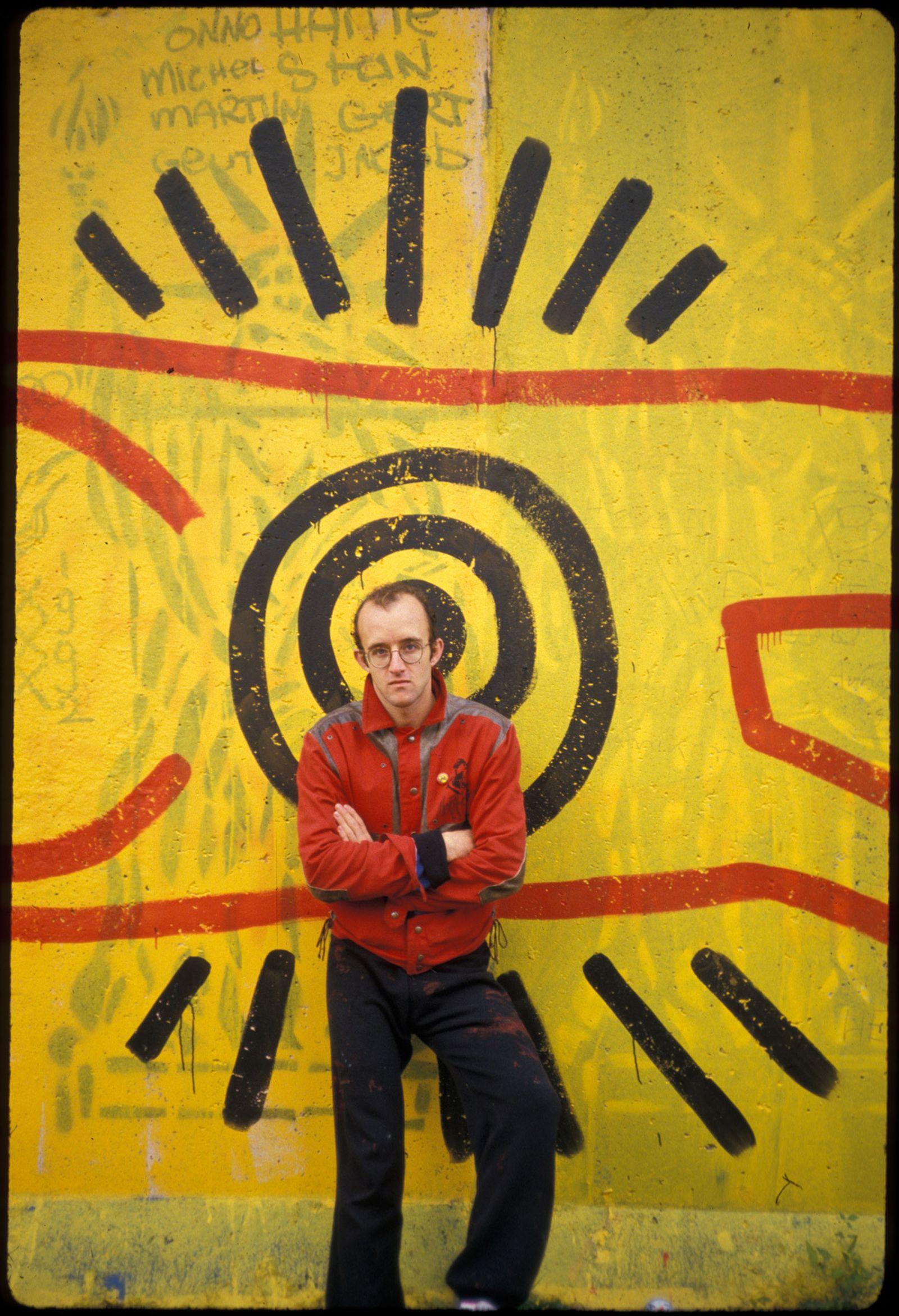 Keith Haring mural at Berlin Wall, Berlin, 1986