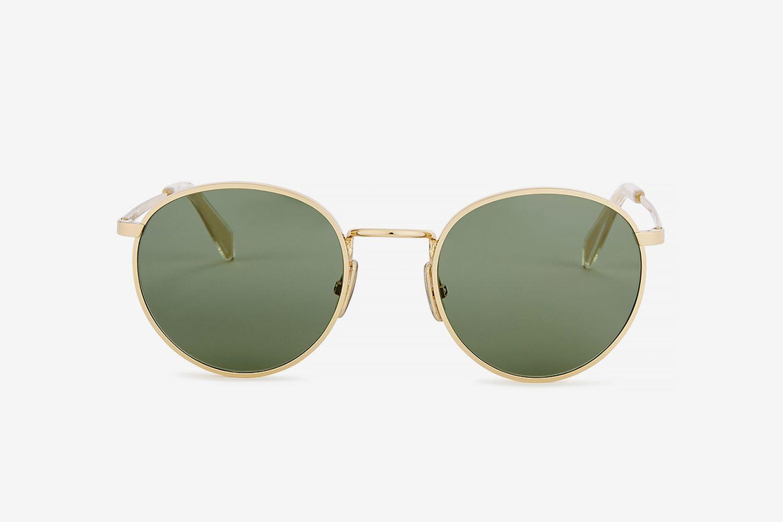 Gold-Tone Round-Frame Sunglasses