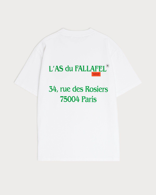 Highsnobiety x L'AS du FALLAFEL — rue des Rosiers T-Shirt White - Image 1
