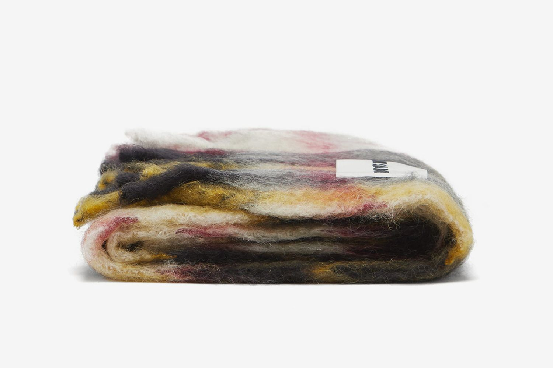 Checked Mohair-Blend Blanket