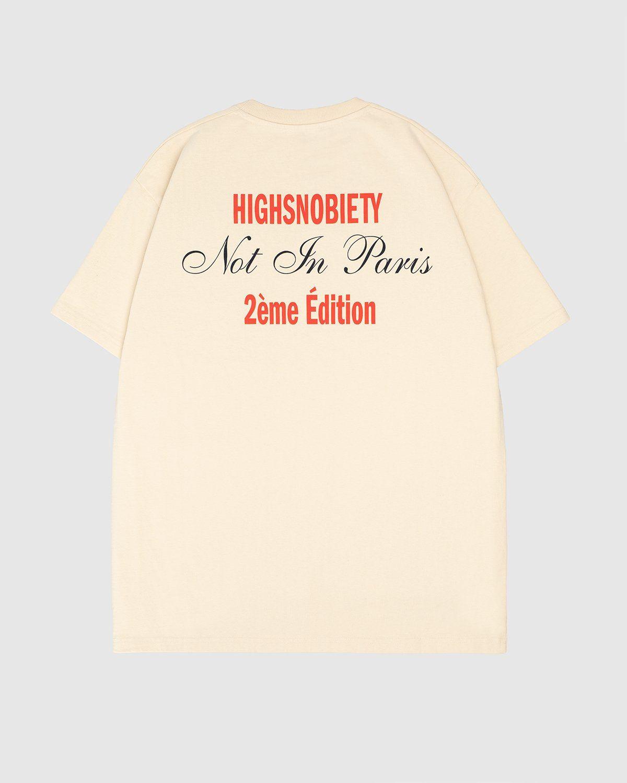 Highsnobiety — Not In Paris Eiffel Tower T-Shirt Eggshell - Image 1