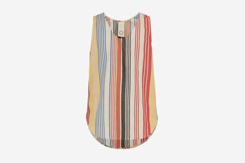 Striped Cotton Blend Tank Top