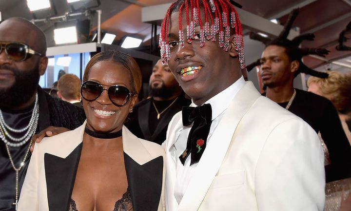 Lil Yachty and his mother attend The 59th GRAMMY Awards