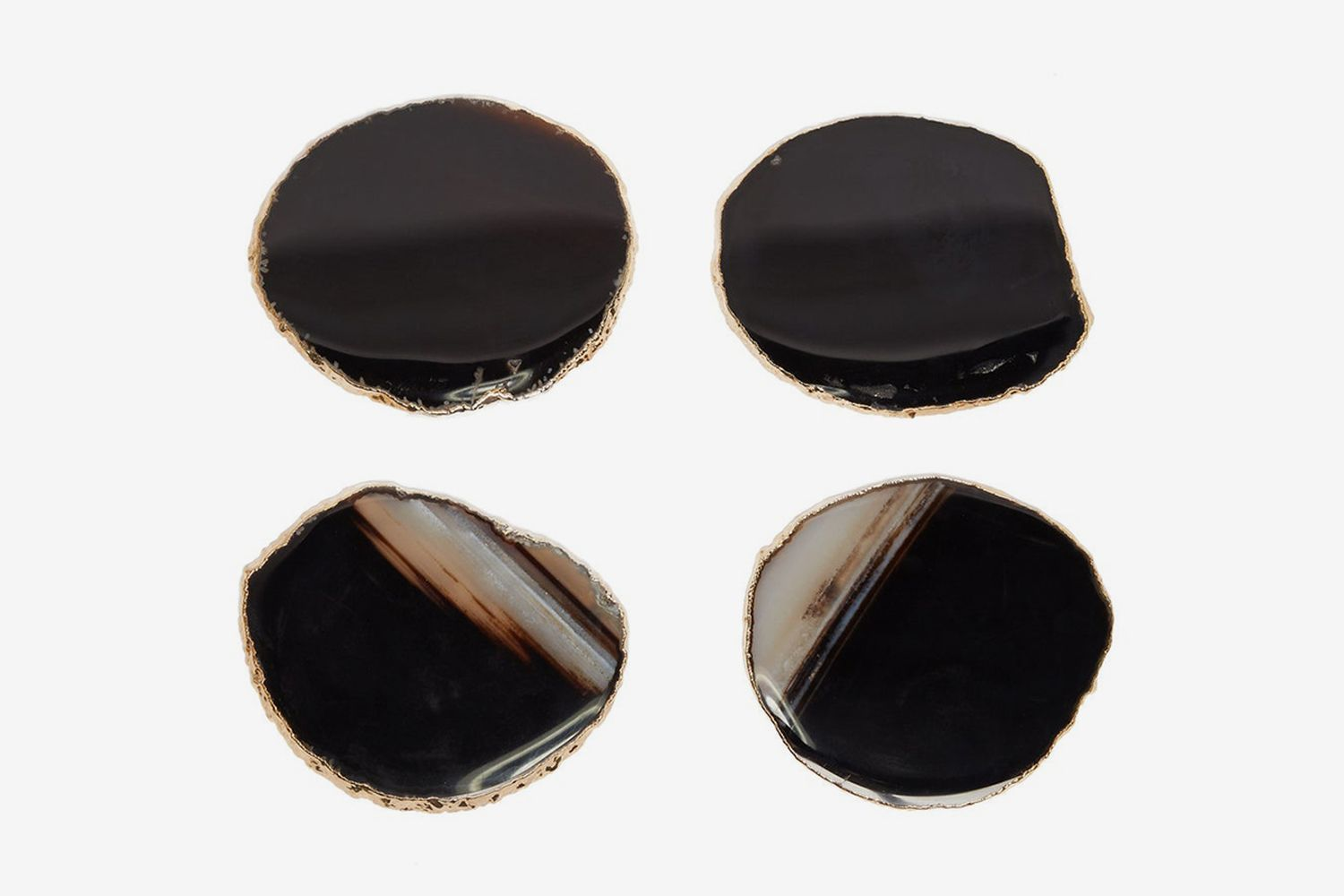 Set Of Four Gold-plated Agate Coasters