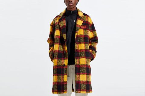 Relaxed Plaid Wool Topcoat