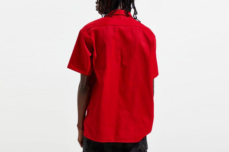 Patch Short Sleeve Button-Down Work Shirt