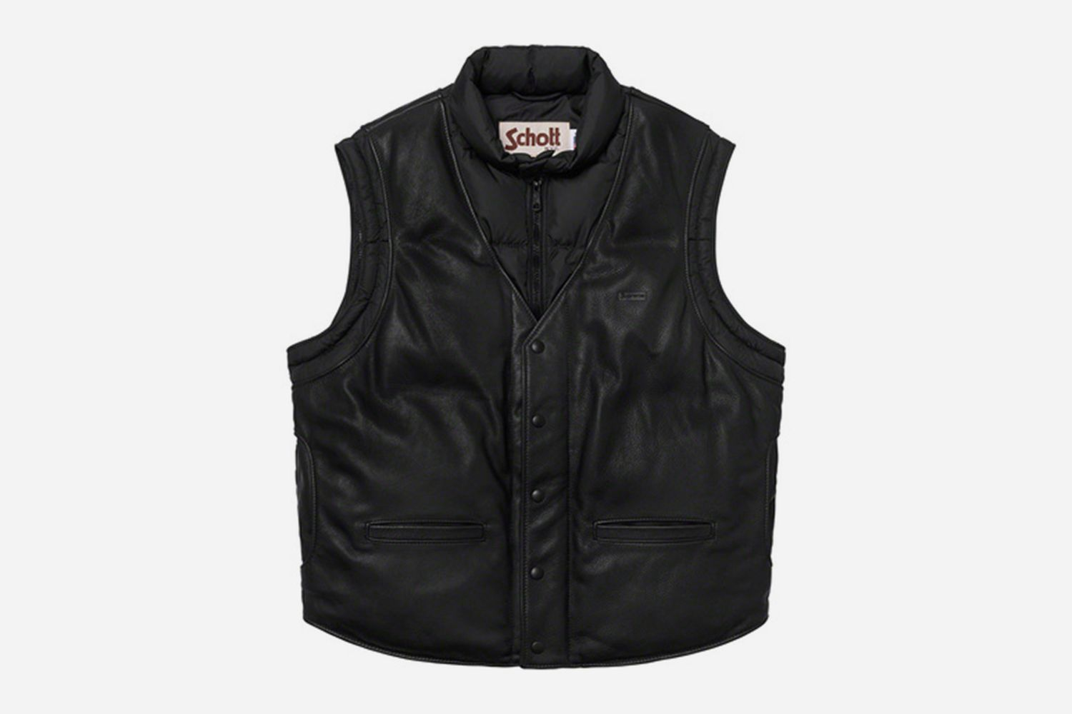Down Leather Jacket With Vest