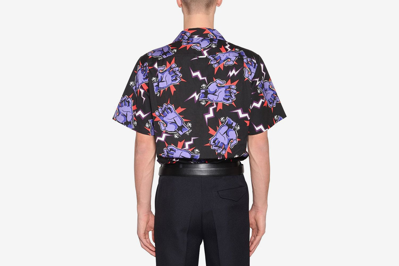 Rose Printed Cotton Poplin Shirt