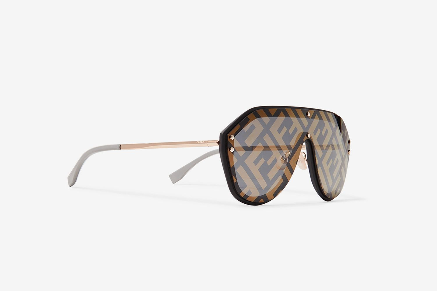 Aviator-Style Rubber-Trimmed Gold-Tone Logo-Print Sunglasses