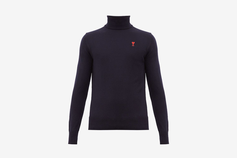 Logo Appliqué Roll Neck Merino Wool Sweater