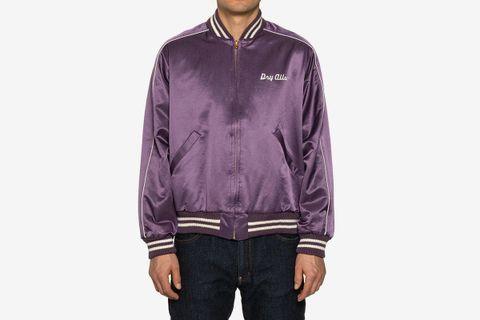 Varsity Satin Jacket Purple