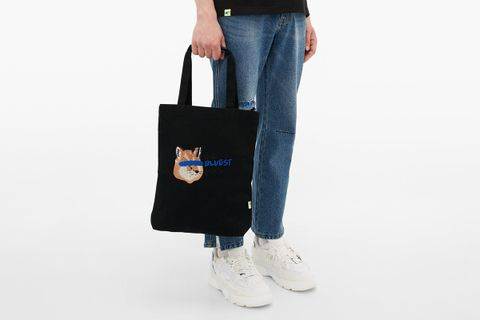 Logo Embroidered Cotton Canvas Tote Bag