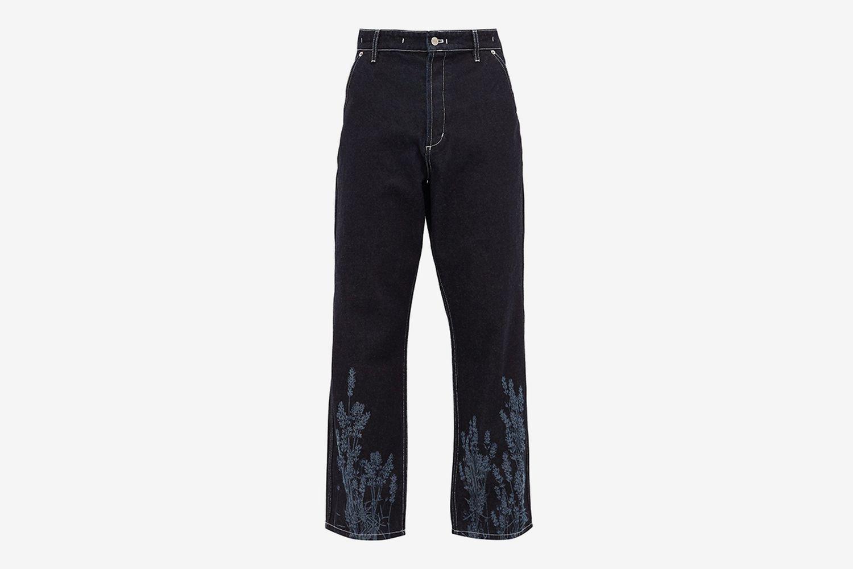 Lavender-Print Topstitched Jeans