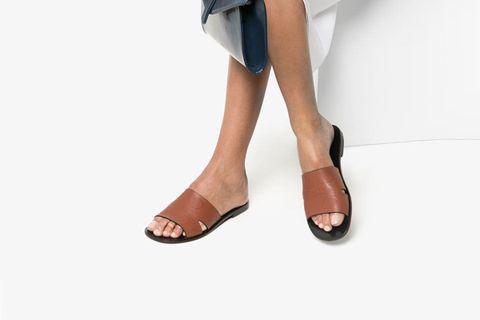 Anagram Logo Stamp Leather Sandals