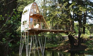 See Treehouse Solling Stilted Over a Pond
