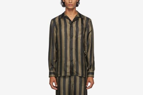 Silk Striped Logo Pyjama Shirt