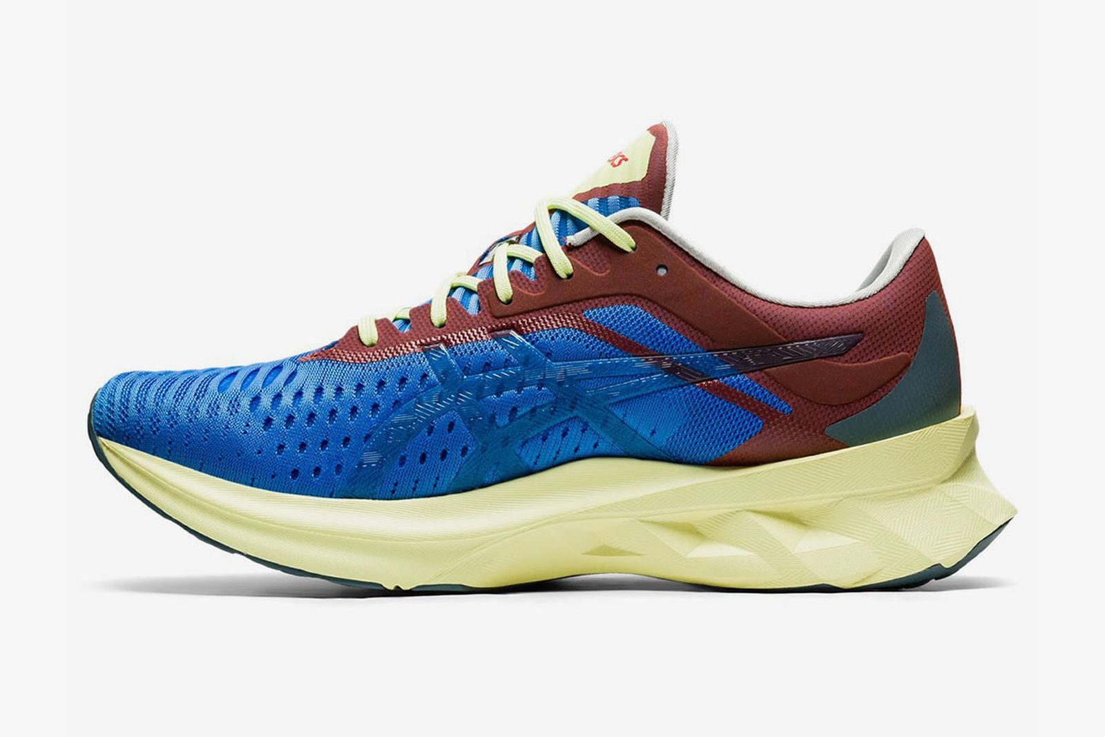 affix x asics novablast sneaker product shot blue