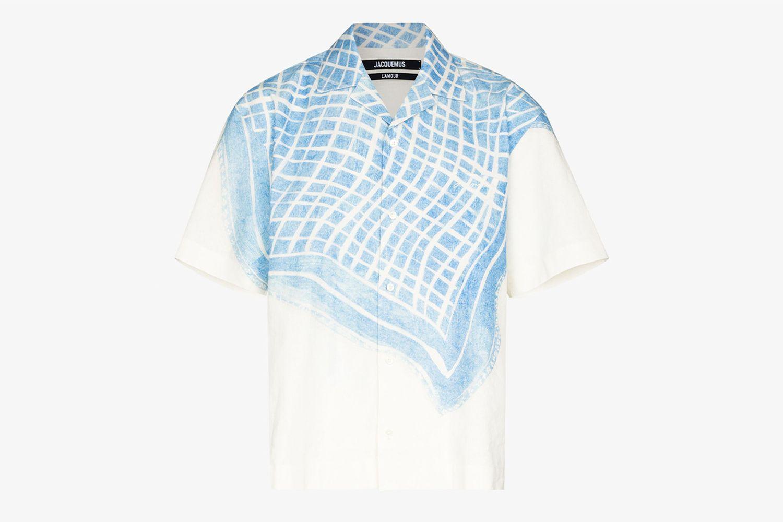 La Chemise Jean Tablecloth Print Shirt